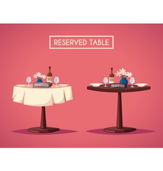 Reserved sign on the table in restaurant Cartoon vector