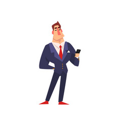 self confident businessman character in blue suit vector image
