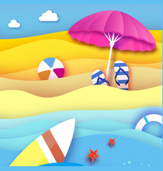 Surfboard pink parasol - umbrella in paper cut vector