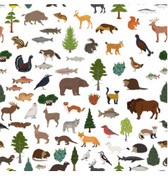 Taiga biome boreal snow forest seamless pattern vector