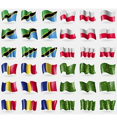 Tanzania Poland Romania Adygea Set of 36 flags of vector image