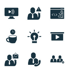 Teamwork icons set with add team call employee vector