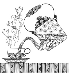 Teapot and cup with steam in form of birds vector image