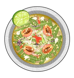Thai Long Beans Salad with Fermented Salted Crabs vector