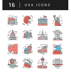 the set of usa symbols vector image