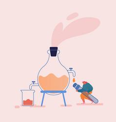 Tiny female character distilling liquid in vector