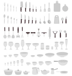 Utensils big set dinnerware equipment collection vector