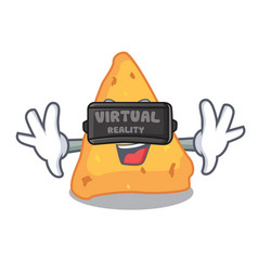 Virtual reality nachos mascot cartoon style vector