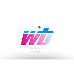 Wb w b alphabet letter combination pink blue bold vector