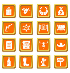 Wild west icons set orange vector