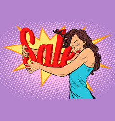 Woman hugging sales love to shopping vector