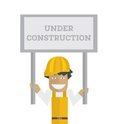 Worker with under construction sign vector
