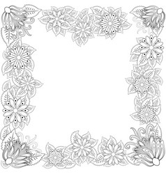 zentangl flower frame for photo coloring book vector image