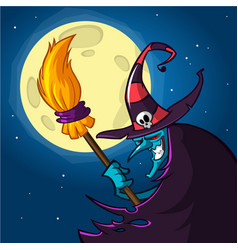 cartoon witch with a broom halloween vector image