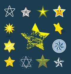 different style shape silhouette shiny star icons vector image