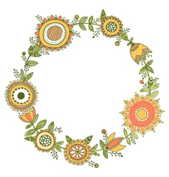 floral wreath decorative frame vector image