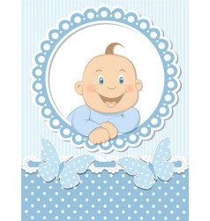 Happy baby boy scrapbook blue frame vector image