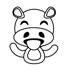 hippo animal toy outline vector image vector image