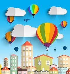Hot Air Balloons with Clouds with Houses on vector image vector image
