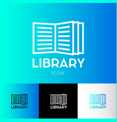 icon library electronic library logo vector image