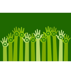 raising hands with a recycle symbol vector image