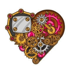 Steampunk heart collage of metal gears in doodle vector image vector image