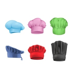 Chef hats multicolored set vector image vector image