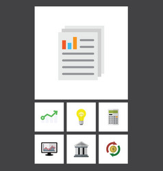 Flat icon gain set of calculate growth bubl and vector