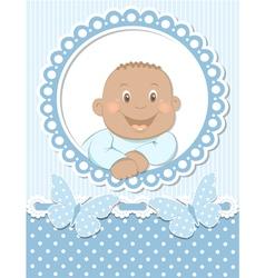 Happy African baby boy scrapbook blue frame vector image vector image