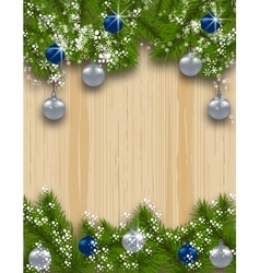 Holiday card Green fir branches with silver and vector image