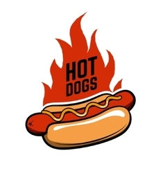 Hot dogs Hot dog in retro style with fire vector image vector image
