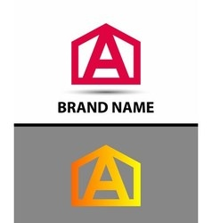 Letter A logo with home icon vector image