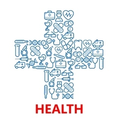 Medical cross symbol made of blue medicine icons vector image vector image