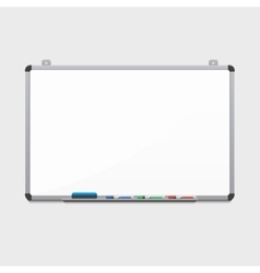 blank white board with colored markers vector image