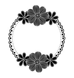 contour flowers emblem icon vector image