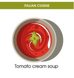 italian cuisine tomato cream soup icon for vector image