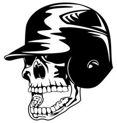 skull in baseball helmet vector image vector image