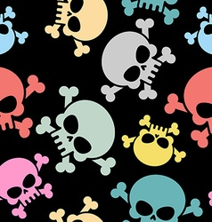 Skull with bones seamless pattern Colored skull vector image