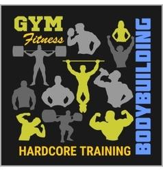 Bodybuilders silhouettes set vector image