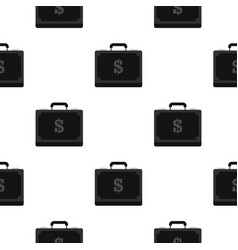 briefcase full of money pattern flat vector image vector image