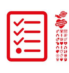 Checklist icon with dating bonus vector