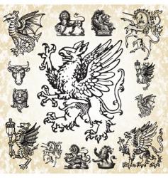 mythical animals set vector image
