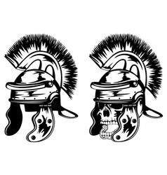 skull in legionary helmet vector image