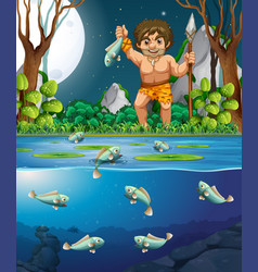 A caveman catching fish vector