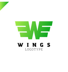 abstract wings and letter w logo template vector image