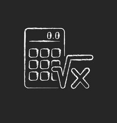 Algebra chalk white icon on dark background vector