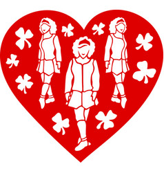Art with irish dancing girls in the red heart vector