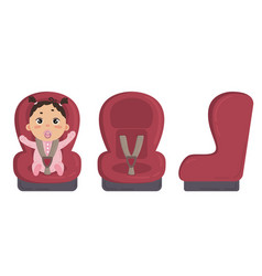 Baby in car seat side and front of safety chair vector