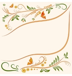 Background Floral ornament with butterflies vector