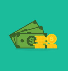 bank notes and dollar coins vector image
